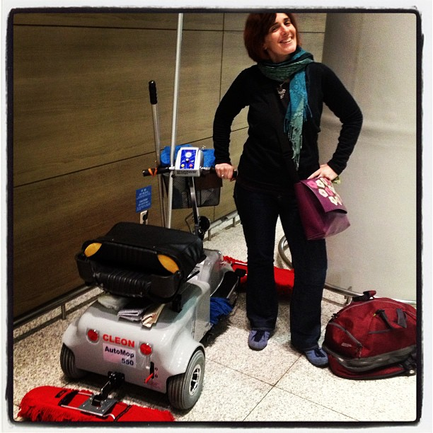 The red bag by my side holds everything. The auto-mop I met at Incheon couldn't believe I didn't pack a hair dryer or high heels or pink cocktail dress.