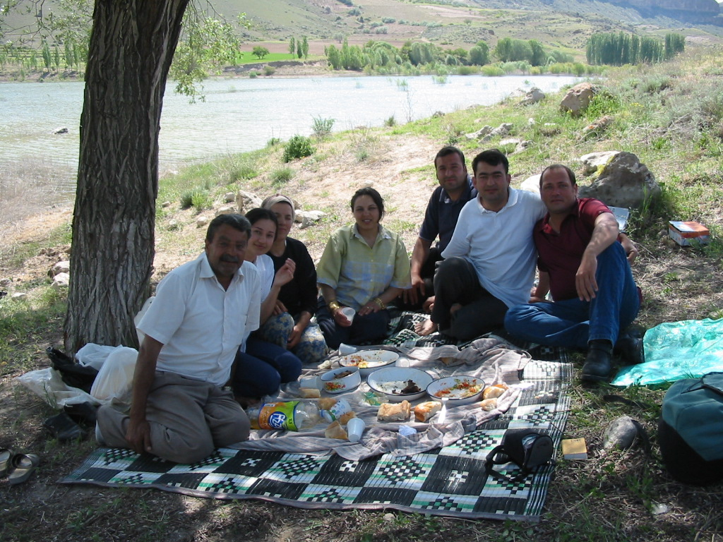 Ahmet and family on the road to Yesilhisar